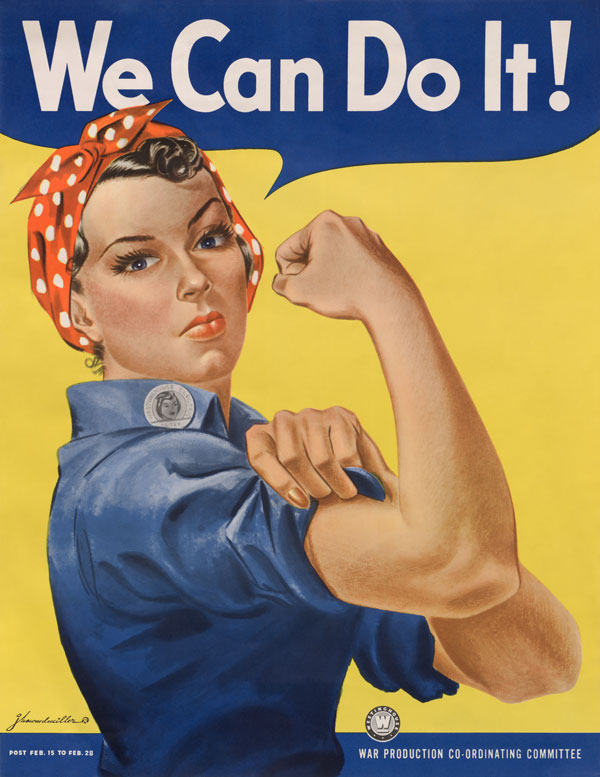 Rosie Riveter woman with bandanna on head