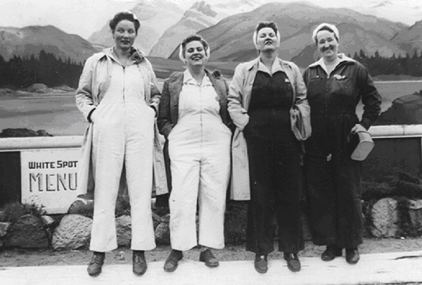 four Boeing women employee standing