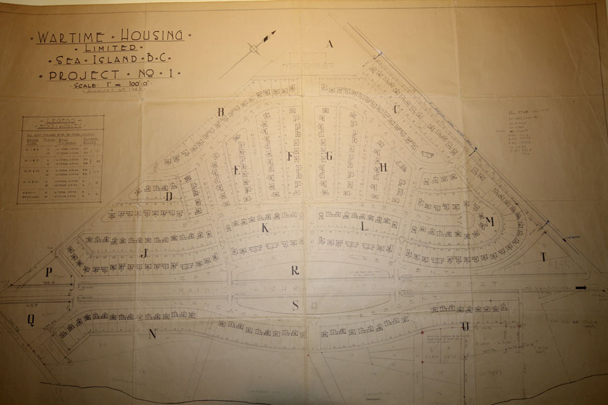 hand drawing of Burkeville subdivision by Wartime Housing Limited